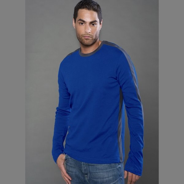 Fine Interlock Long Sleeve Ringer Tee with Stripes