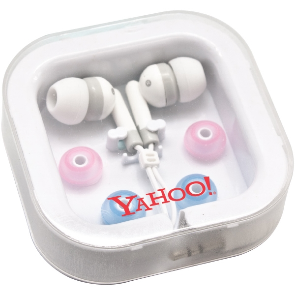 Universal Stereo Earphones. Interchangeable Pink & Blue Silicon Covers Photo