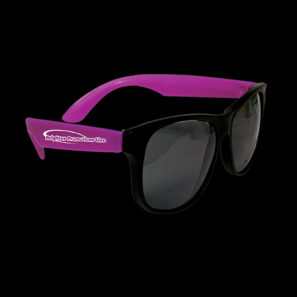 Neon Sunglasses With Purple Arms, 12 Per Pack Photo