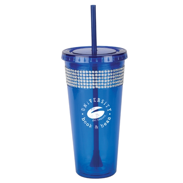 Sparkle Bling - Blue - Tumbler Made From Acrylic Body And Liner With 2 In 1 Propeller Straw And Stirrer Photo