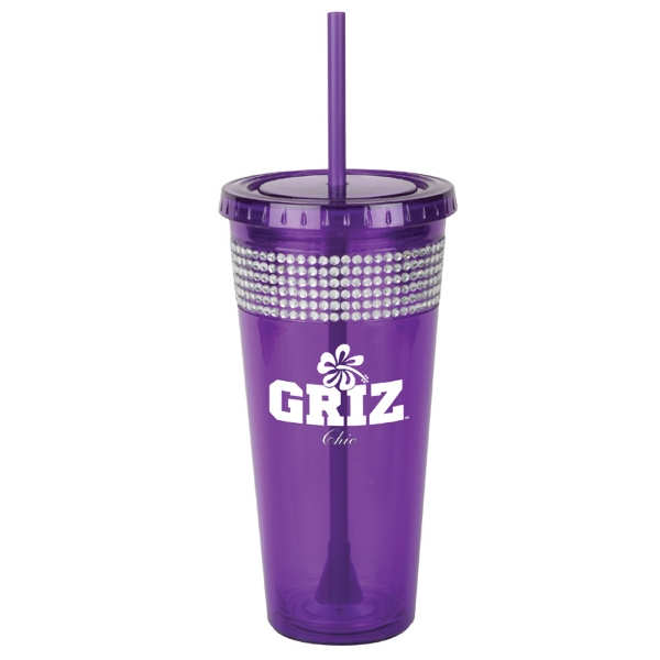Sparkle Bling - Purple - Tumbler Made From Acrylic Body And Liner With 2 In 1 Propeller Straw And Stirrer Photo