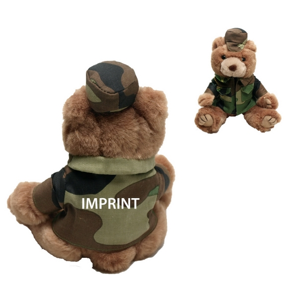"8"" Marine Bear - Green Camo with one color imprint"