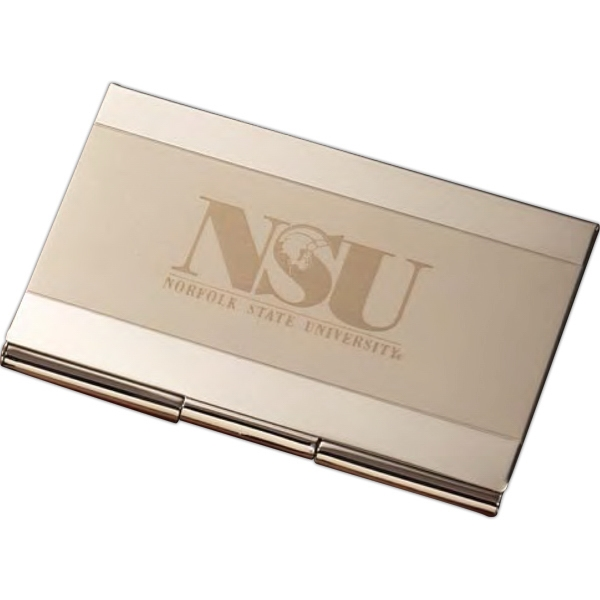 Lisbon - Laser - Dual Tone Silver Business Card Holder Photo