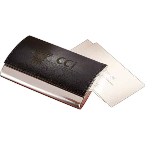 Monte Carlo - Business Card Holder With Heavy Metal Chrome Back And Leatherette Closing Flap Photo
