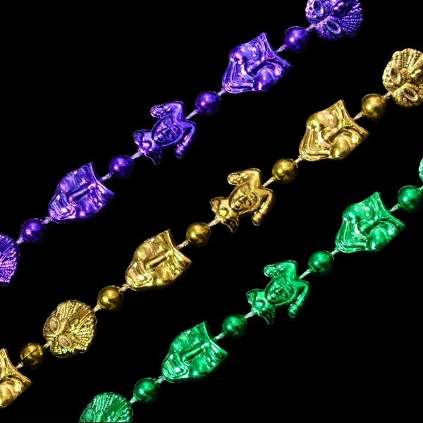 Mini masks Mardi Gras beads necklace