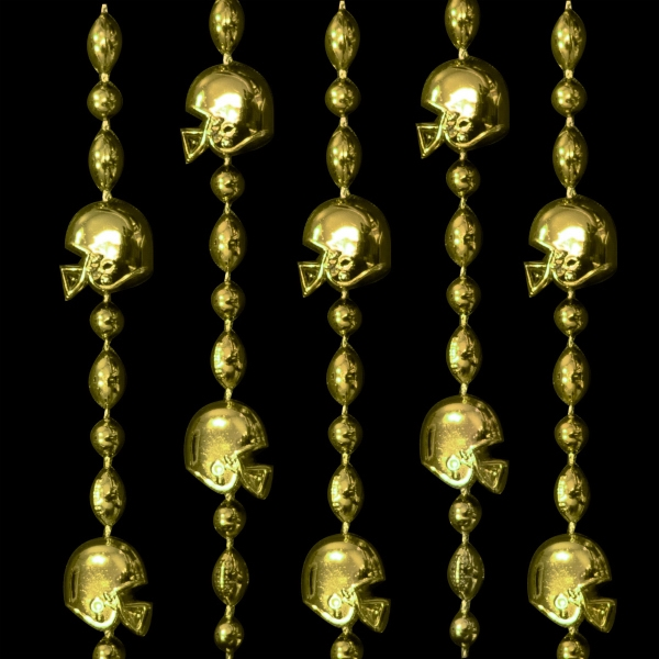 Gold Football Helmet Bead Necklaces In Team Colors. Blank Photo