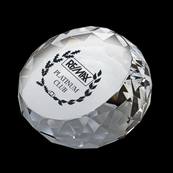 Round Diamond Crystal Paperweight Photo