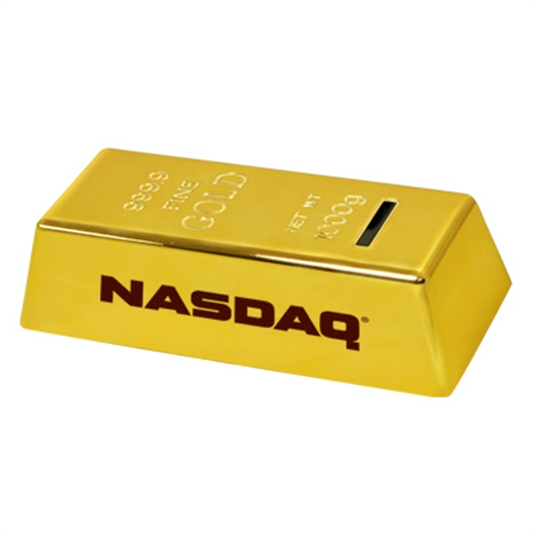 Gold Bar Shaped Coin Bank Photo