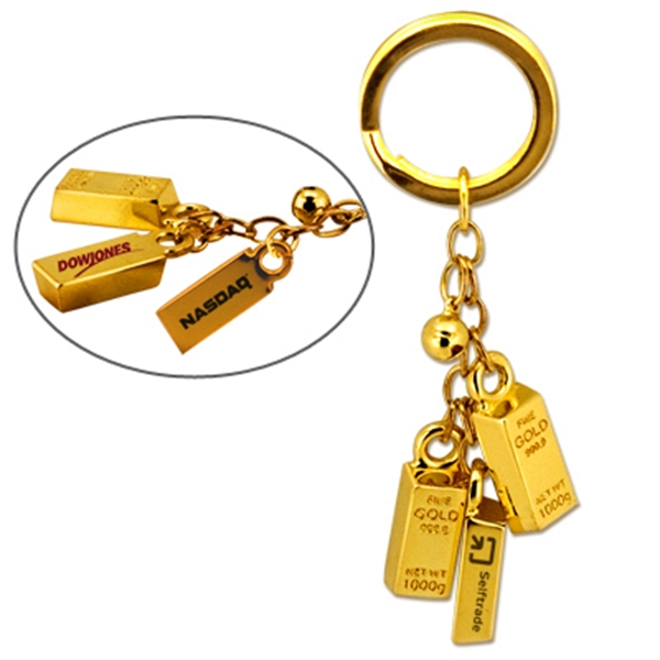 Gold Bar Bell Key Chain Photo