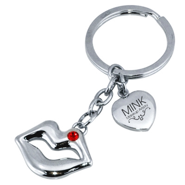 Metal Lips Shaped Keychain Photo