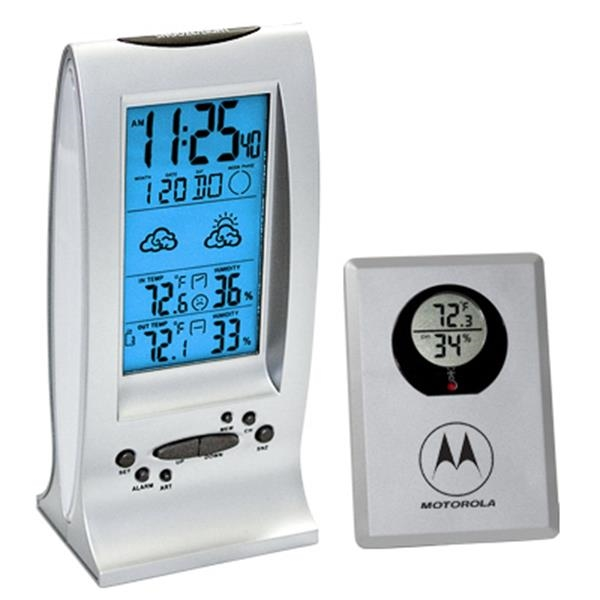 Atomic Weather Station Clock With Indoor/outdoor Thermometer And Hygrometer Photo