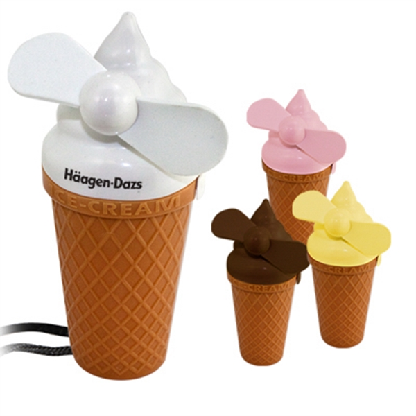 Ice Cream Shaped Fan With Lanyard Photo