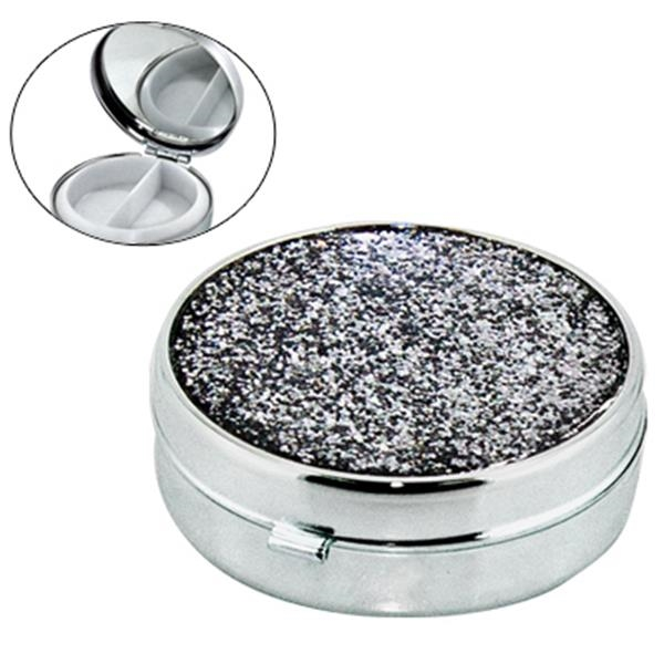 Round Shape Metal Pill Box With Mirror And Glitter Cover Photo