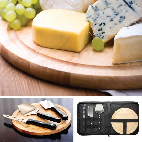 Gourmet 5 Piece Circular Chopping Board With Cheese Cutting Tools Photo