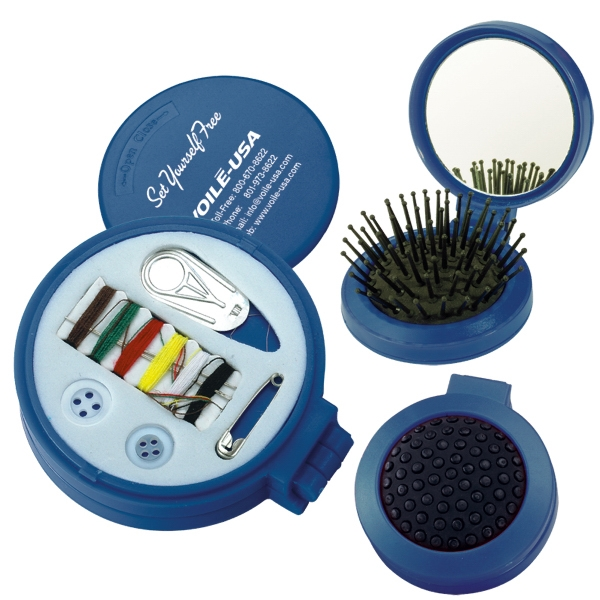 Sewing Kit With Built-in Mirror And Brush Photo