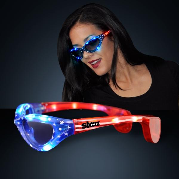 USA Stars & Flag Stripes LED Flashing Sunglasses