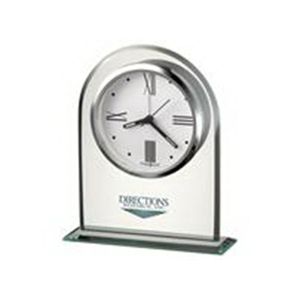 Regent - Alarm Clock With A White Dial And Silver-tone Bezel Suspended Within Beveled Glass Photo