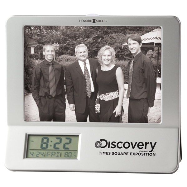 Newton - Satin Silver And Black Tabletop Clock With Lcd Display And Photo Frame Photo