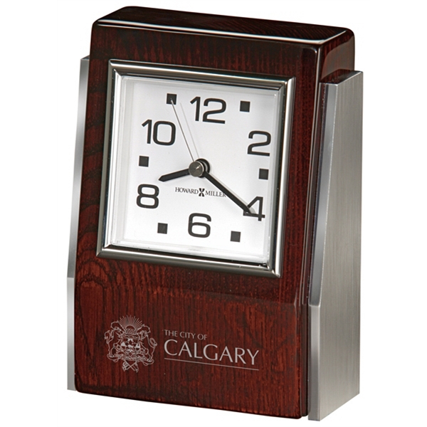 Haddington - Rosewood Hall Finished Rectangular Tabletop Clock With Beveled Face Photo