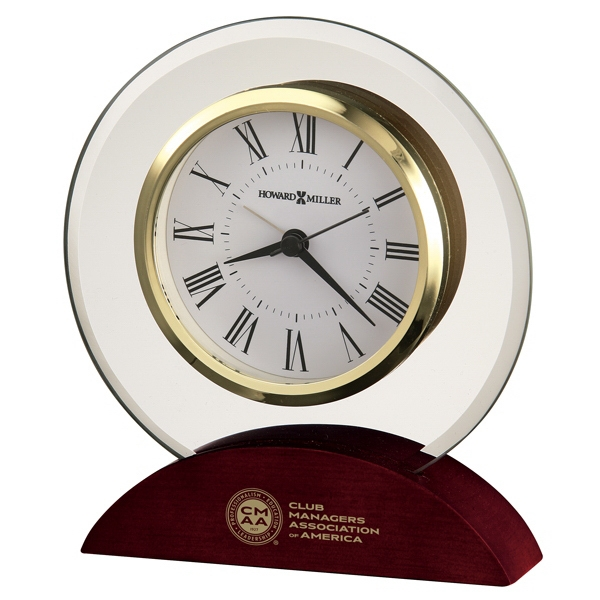 Dana - Round Beveled Glass Tabletop Clock In Satin Rosewood Finish Photo