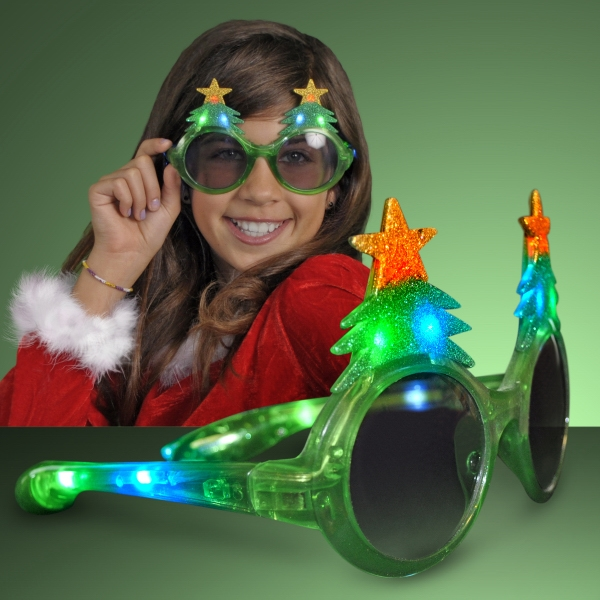 Light Up Glitter Christmas Tree Sunglasses