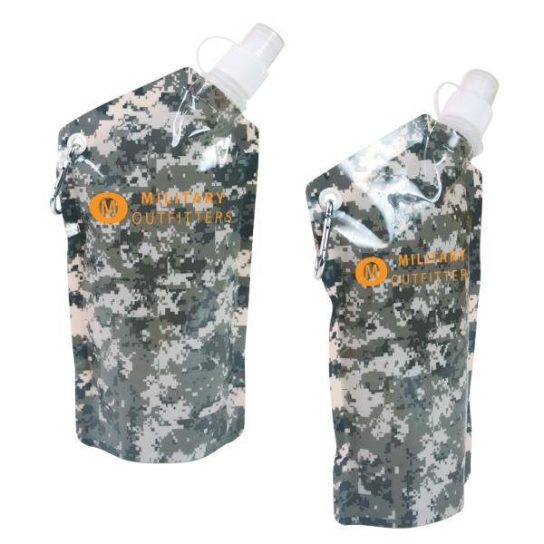 Smushy Flexible Water Bottle Featuring Digital Camouflage Patterned Body, 20 Oz Photo