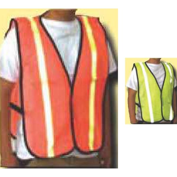 Mesh Safety Vest w/Reflective Stripes - One Size Fits All