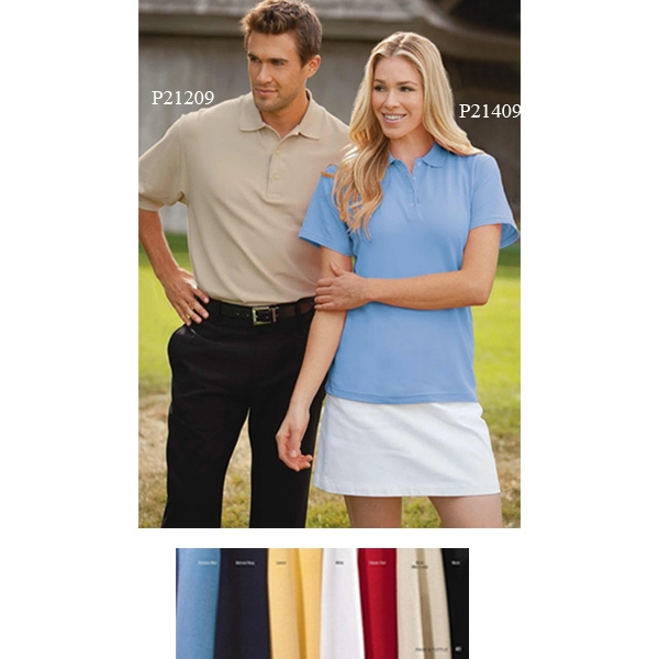 2 X L - Ladies' Pima Cotton Honeycomb Pique Polo Shirt With 4-button Placket Photo