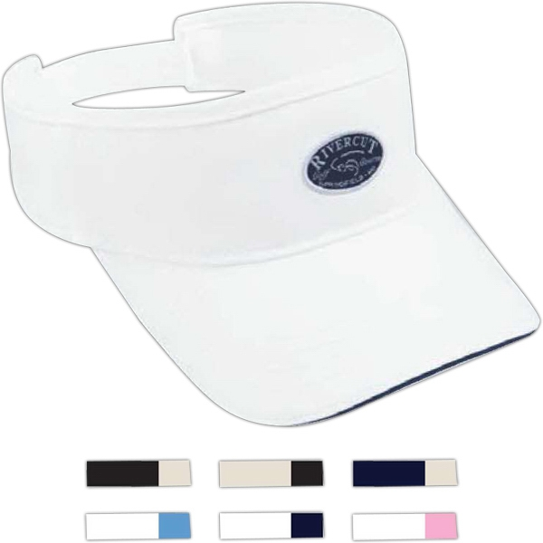 Cotton Garment Washed Twill Visor With Contrast Sandwich Bill Photo