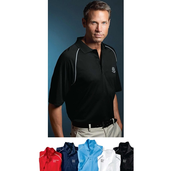 Sport - 2 X L - Men's Pique Polo Shirt With Contrast Piped Raglan Hemmed Sleeves Photo