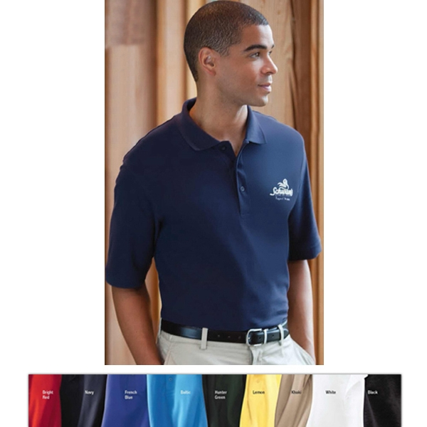 Classics - S- X L - Men's Essential Ringspun Pique Polo Shirt With Knit Collar And Cuffs Photo