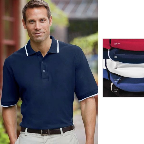 Classics - S- X L - Men's Essential Ringspun Pique Polo Shirt With Knit Tipped Collar And Cuffs Photo