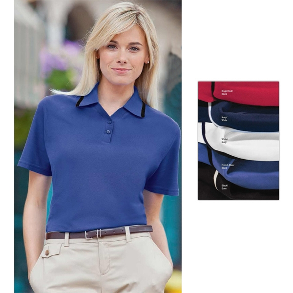 Classics -  X S- X L - Ladies' Performance Pique Shirt With Knit Tipped Collar And Cuffs Photo