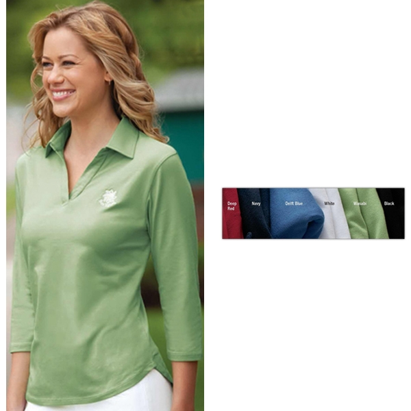 Classics - 2 X L - Ladies' Three-quarter Sleeve Pima Stretch Jersey With Bound Buttonless Placket Photo