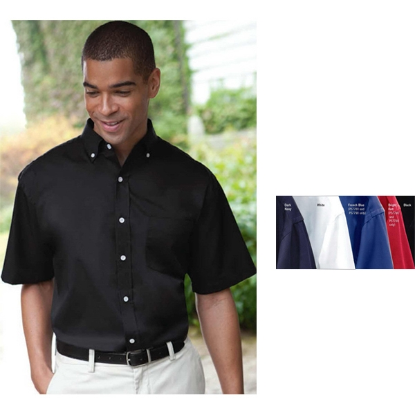 Classics - 2 X L - Men's Short Sleeve Easy Care Woven Twill Shirt With Classic 7-button Placket Photo