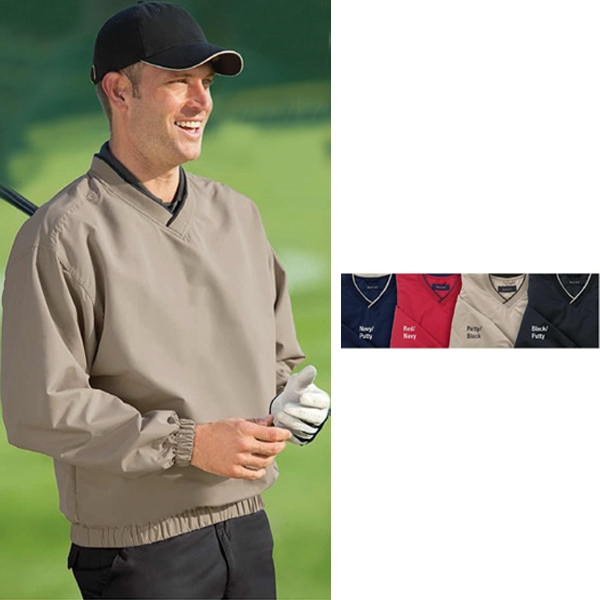 2 X L - Wind And Water Resistant Microfiber Windshirt With Crossover V-neck Knit Collar Photo