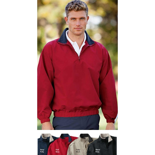 3 X L - Microfiber Quarter-zip Windshirt With Contrast Tipped Collar Photo