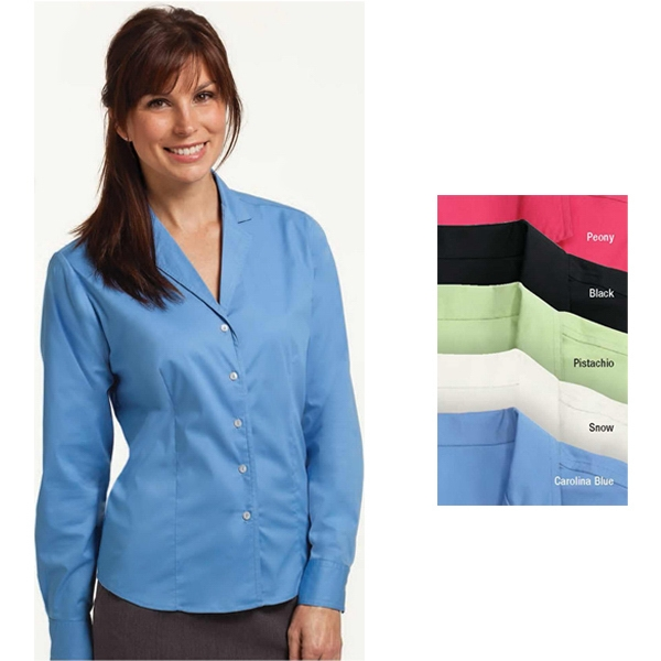2 X L - Ladies' Easy Care Stretch Shirt With Feminine V-neck Collar Photo