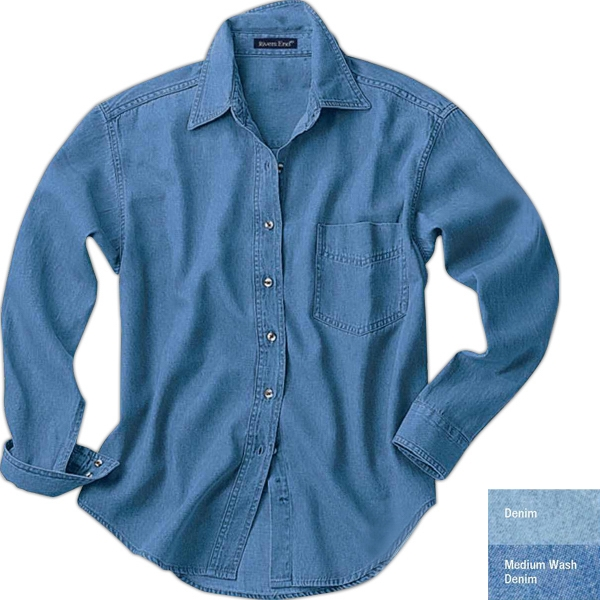 S- X L - Ladies' Long-sleeve Denim Shirt With Spread Collar Photo