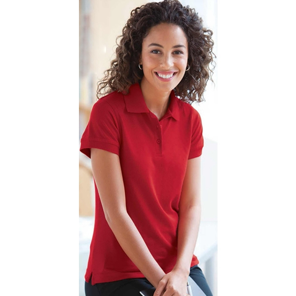 S- X L - Ladies' Easy Care Moisture Wicking Polo Shirt With Side Vent Hem Photo