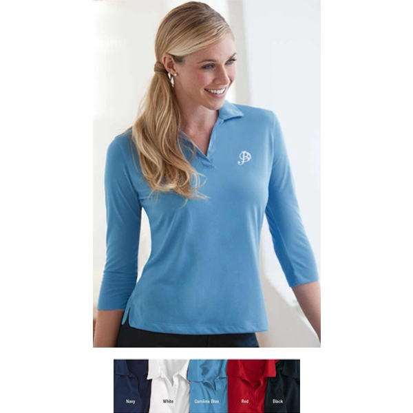 2 X L - Ladies' Three-quarter Sleeve Jersey Shirt With Self-fabric Collar Photo