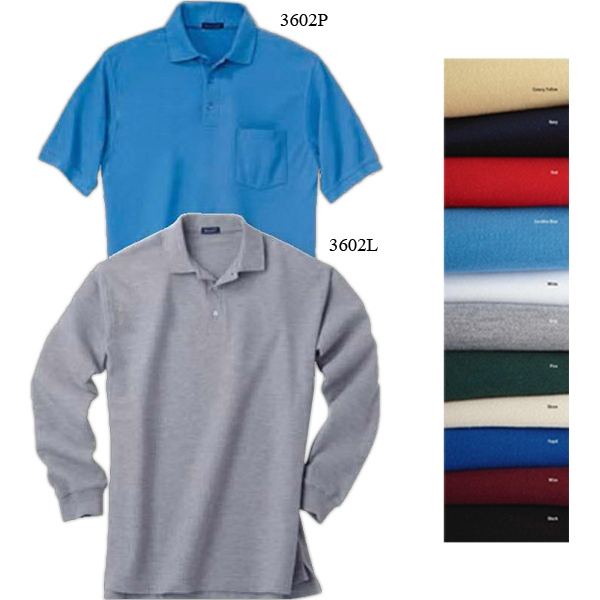 2 X L - Men's Easy Care Long-sleeve Polo Shirt With Rib Knit Cuffs And 3-button Placket Photo