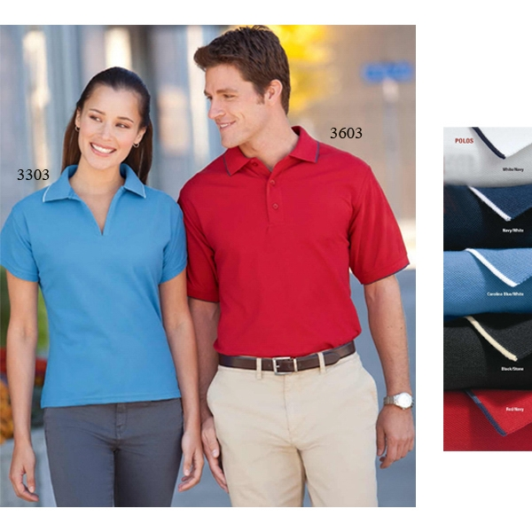 S- X L - Men's Easy Care Tipped Pique Polo Shirt With 3 Button, Clean Finish Placket Photo