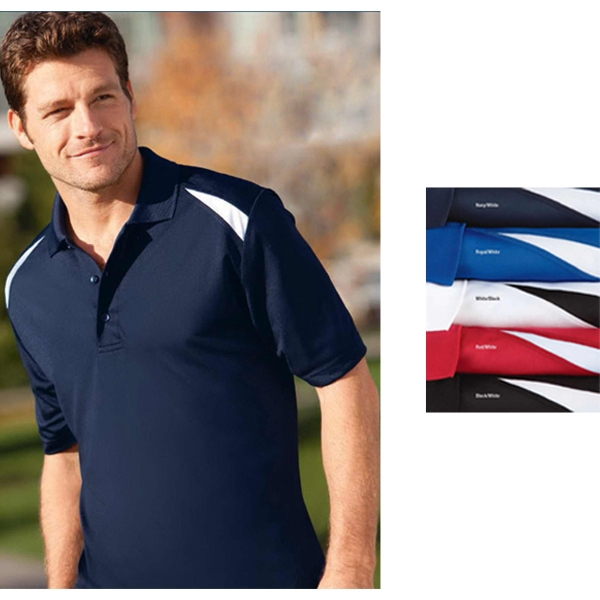 Sport (tm) - 3 X L - Men's Color Block Polo Shirt With Moisture Wicking, Coolmatrix (tm) Technology Photo