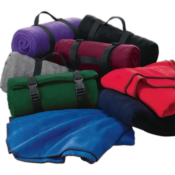Fleece Throw With Clean Anti-pill Finish And Webbed Carry Handle Photo