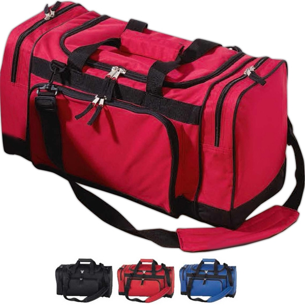"Duffel Bag With Two Zippered 3"" Side Gusset Pockets Photo"