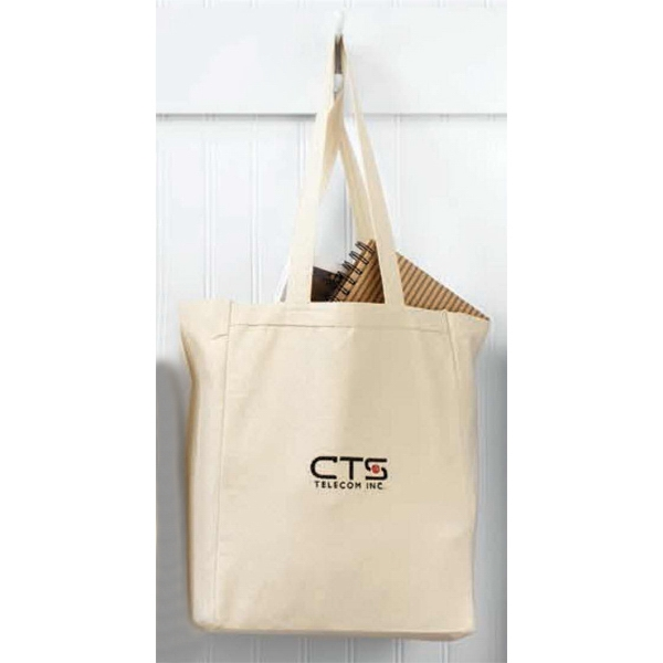 "Cotton Canvas Gusset Tote Bag With Self-fabric 22"" Handles Photo"