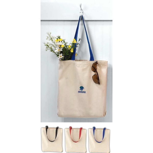 "Cotton Canvas Tote Bag With Contrast Web 22"" Handles Photo"