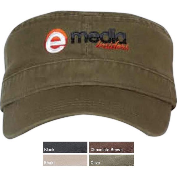 Bio-washed Military Cap Made Of 100% Cotton Chino Twill Photo