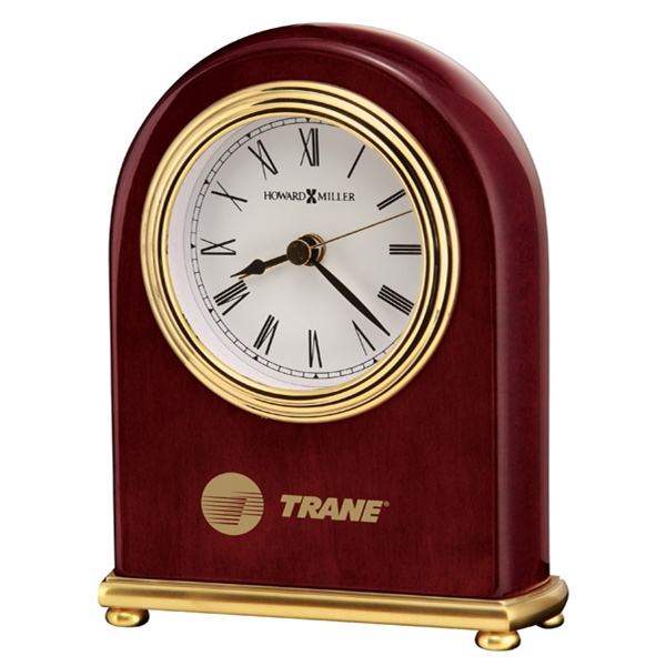Rosewood Arch - Rosewood Finish Alarm Clock With Brass Plated Base And 4 Brass Feet Photo